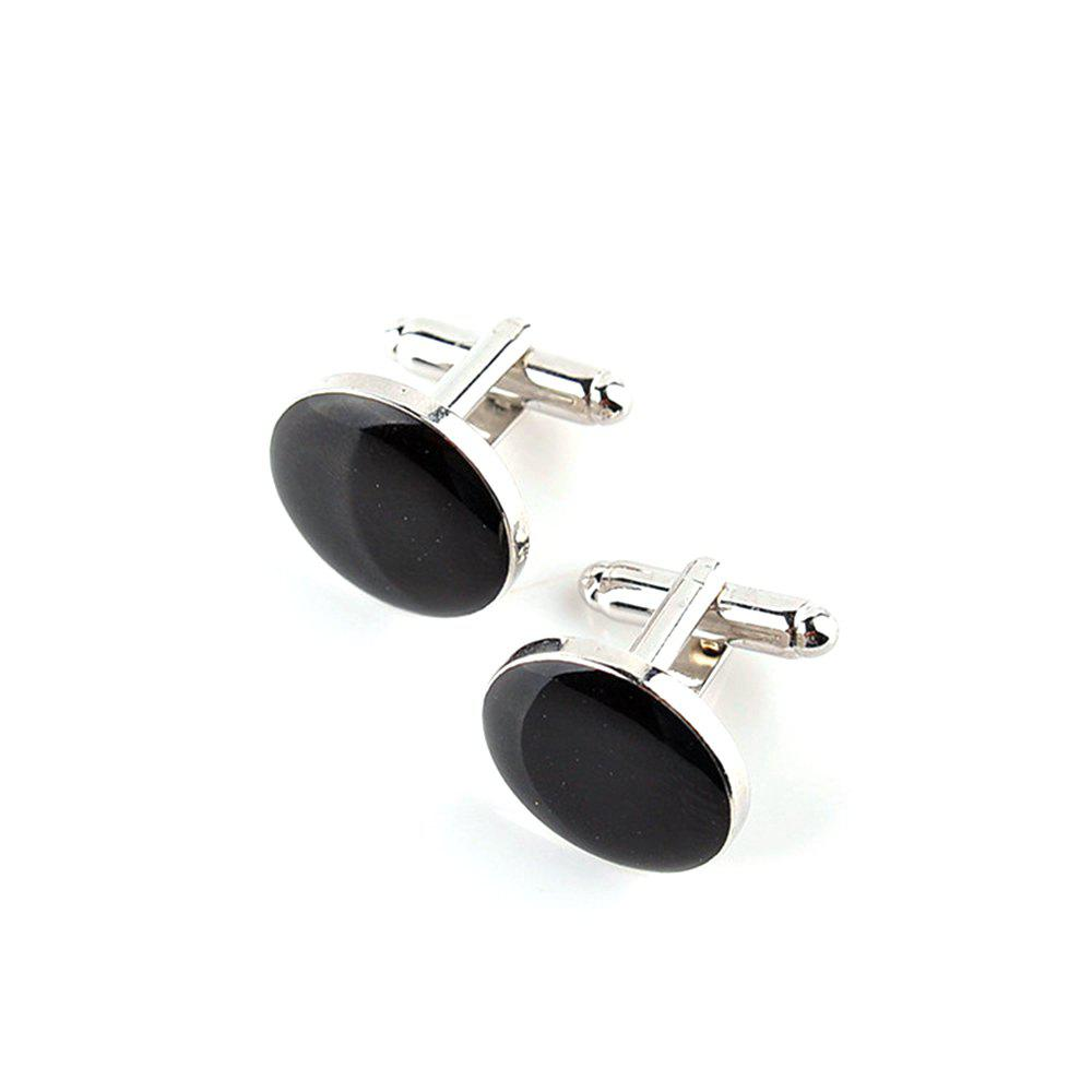 Men's Cufflinks Roof Solid Color Round Brief Cuff Buttons Accessory - BLACK