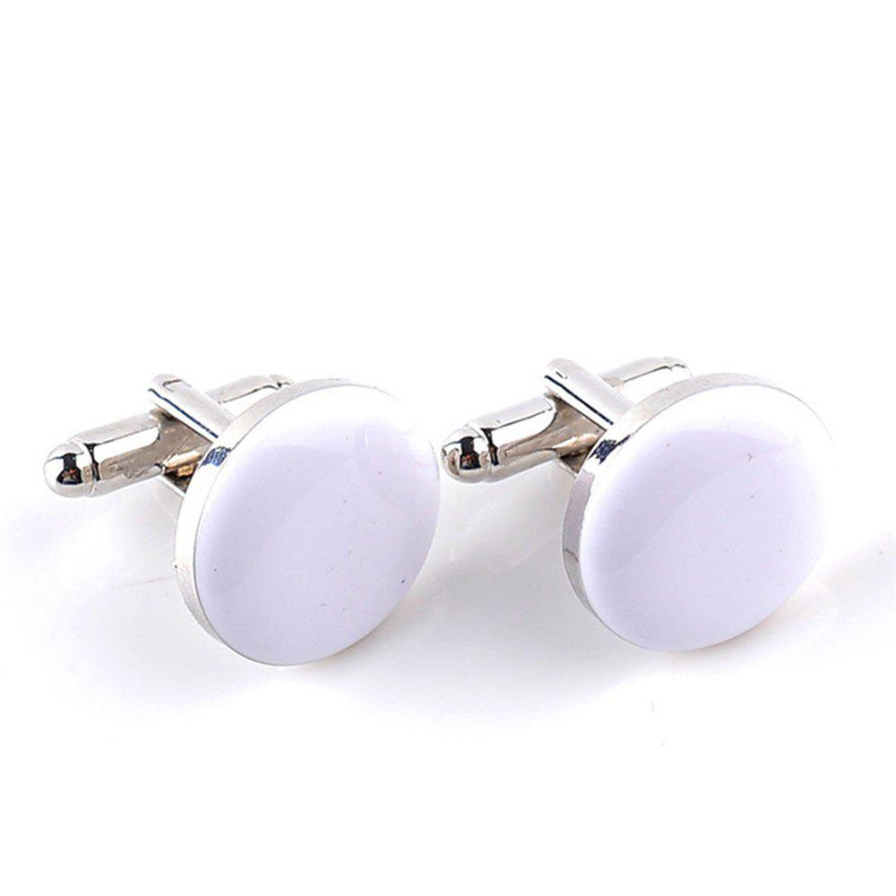 Men's Cufflinks Roof Solid Color Round Brief Cuff Buttons Accessory - WHITE