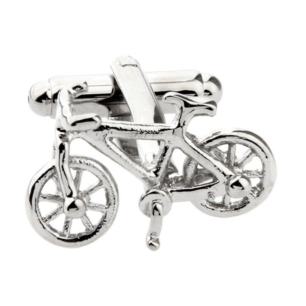 Men's Individual Creative Bicycle Shape Pure Copper Men Cufflinks - 银色