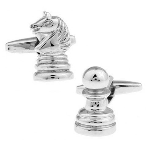 Men's Pure Copper High Quality Electroplating Personality Chess Cuff Links - SILVER