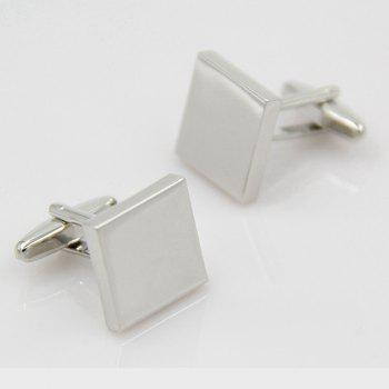 Men's Square Solid Color Handwork Cufflinks Accessory - SILVER