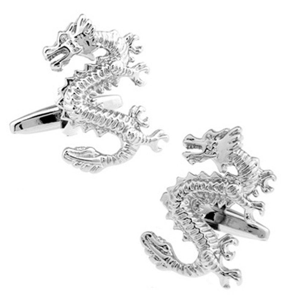 Men's Environmental Protection MaterialDragon Pattern Caving Cuff Link - SILVER