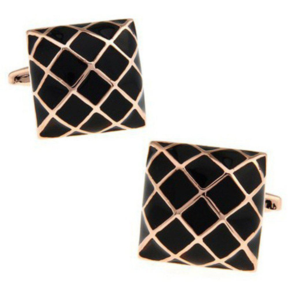 Men's Square Pattern Stylish Design Color Block Cuff Buttons Accessory - BLACK / GOLDEN