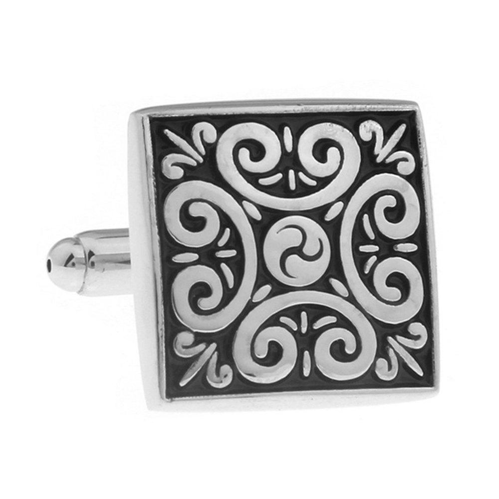 Men's Chinese Style Antique Hig Grade Carved Decorative Pattern Cufflinks - BLACK