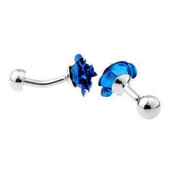 Men's Vacuum Plating Blue Enchantress Pattern Caving Cuff Link - BLUE