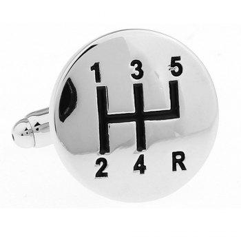 Men's Personality Car Gearbox Gear Stall Shape Cufflinks -  SILVER