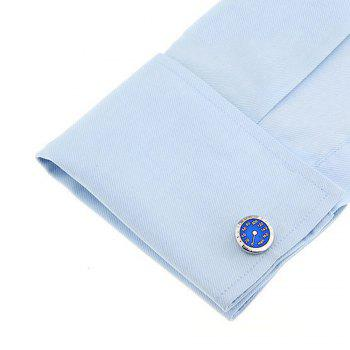 Men's Car Tachometer Pattern Caving Cuff Link - BLUE