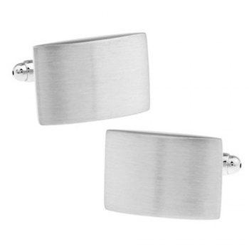 Men's Rectangle Metal Drawing Pattern Caving Cuff Link - SILVER SILVER