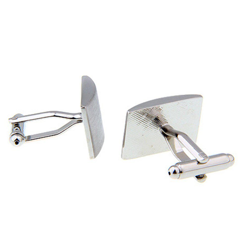 Men's Rectangle Metal Drawing Pattern Caving Cuff Link - SILVER
