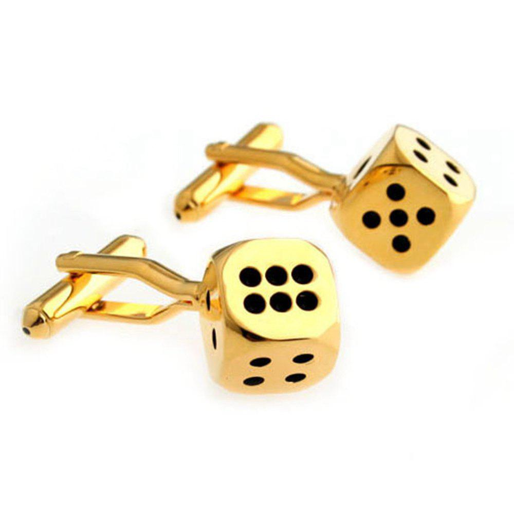 Men's Cufflinks Dice Pattern Creative Golden Cufflinks Accessory - GOLDEN