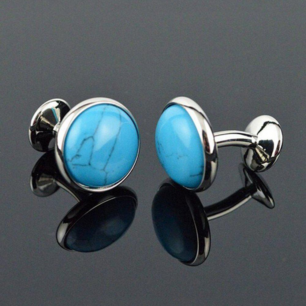 Men's Cufflinks Natural Calaite Stylish Cuff Buttons Accessory - CHARM