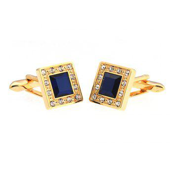 Men's Sapphire Crystal Style Square Pattern Caving Cuff Link -  GOLDEN