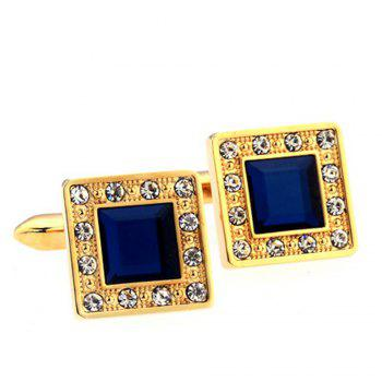 Men's Sapphire Crystal Style Square Pattern Caving Cuff Link - GOLDEN GOLDEN