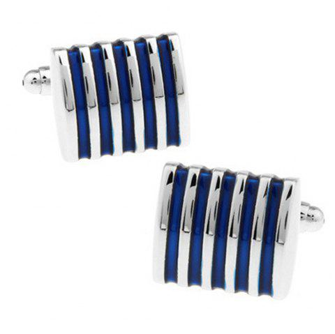 Men's Cufflinks Stripe Design High Quality Chic Cuff Buttons Accessory - BLUE