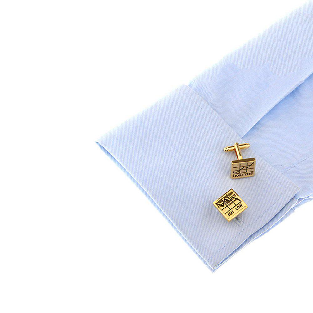 Men's Letter Pattern Caving For Stock Cuff Link - GOLDEN