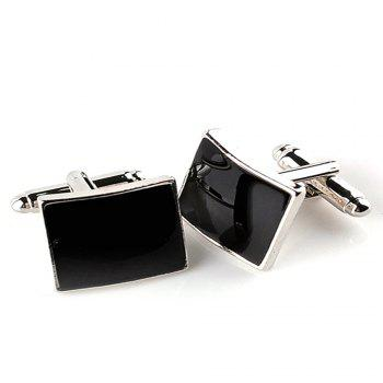 Men's Cufflinks Square Black Classic Generous Cuff Buttons Accessory - BLACK