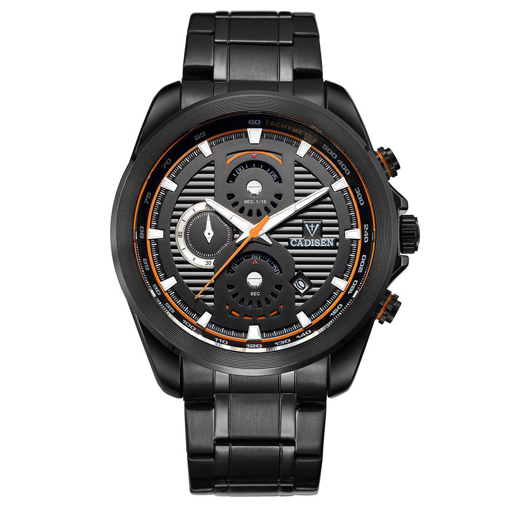 Cadisen C9051 Fashion Men Waterproof Quartz Multifunction Watch - BLACK/ORANGE