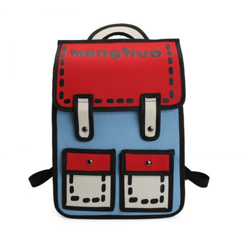 MENGHUO 3D Contrasting Colors Simple Cartoon Style Fashion Backpack School  Bag for Teen Girls - BLUE ba48bb30f3827