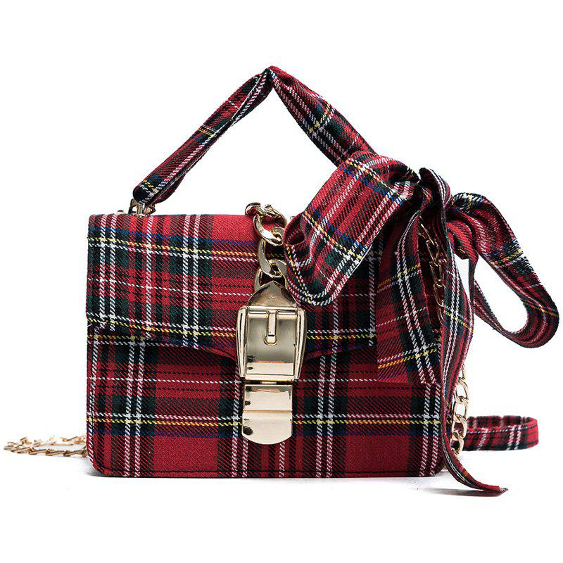 Simple Casual Fashion Plaid Fabric Messenger Bag for Women - RED