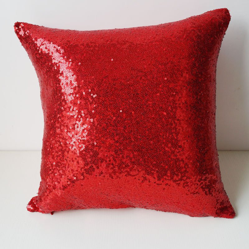 LmDec 17YLP01 Sequin Pillowcase - RED