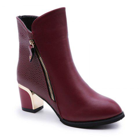 New Winter  with Thick British Style Short Canister  Female Fall Side Zipper Boots - WINE RED 40