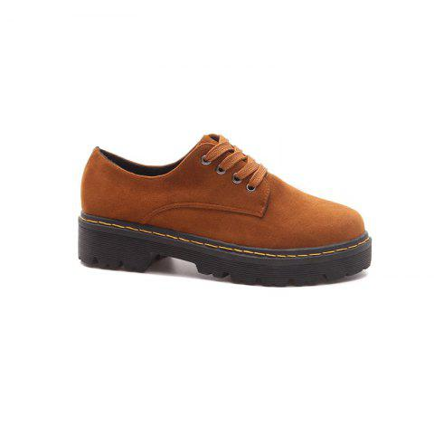 HXYR-Y7 Thick Bottom Round Tie with Martin All-match Thick Boots - LIGHT BROWN 36