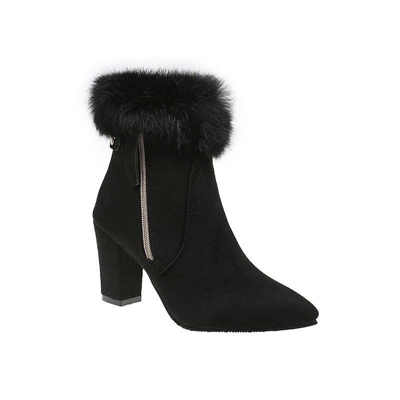 QZJR-009Short Boots Fashion Warm Fluffy Pointed Coarse High Heeled Women'S Shoes - BLACK 39