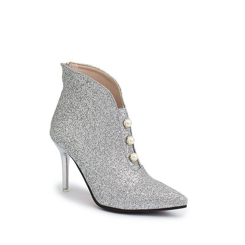 HH-S808 Crystal Sequins High Heels Rear Zipper Martin Boots - WHITE 39