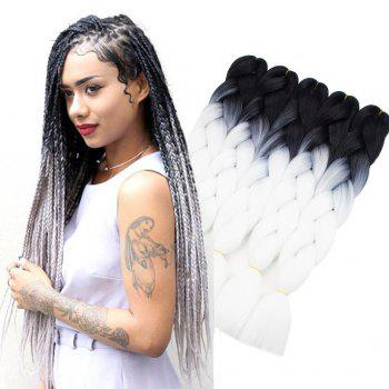 5pcs 2 Tone Ombre Jumbo Braiding Hair Extensions 24inch Crochet Braids High Temperature Kanekalon Synthetic Fiber Twist - BLACK WHITE 24INCH*24INCH*24INCH*24INCH*24INCH