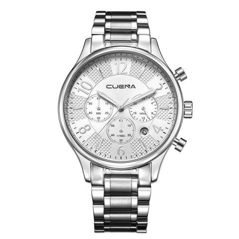 CUENA 6919 Men Steel Band Multifunctional Quartz Waterproof Watch - WHITE SILVER WITH BUILT-IN BATTERY