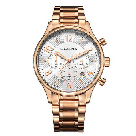 CUENA 6919 Men Steel Band Multifunctional Quartz Waterproof Watch - ROSE GOLD WHITE WITH BUILT-IN BATTERY