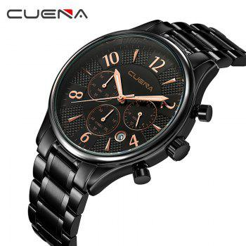 CUENA 6919 Men Steel Band Multifunctional Quartz Waterproof Watch - BLACK ROSE GOLD WITH BUILT-IN BATTERY