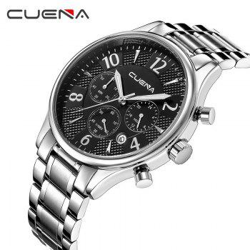 CUENA 6919 Men Steel Band Multifunctional Quartz Waterproof Watch - SILVER BLACK WITH BUILT-IN BATTERY