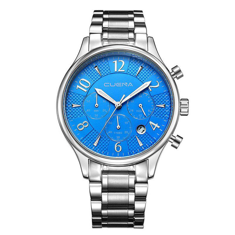 CUENA 6919 Men Steel Band Multifunctional Quartz Waterproof Watch - SILVER BLUE WITH BUILT-IN BATTERY