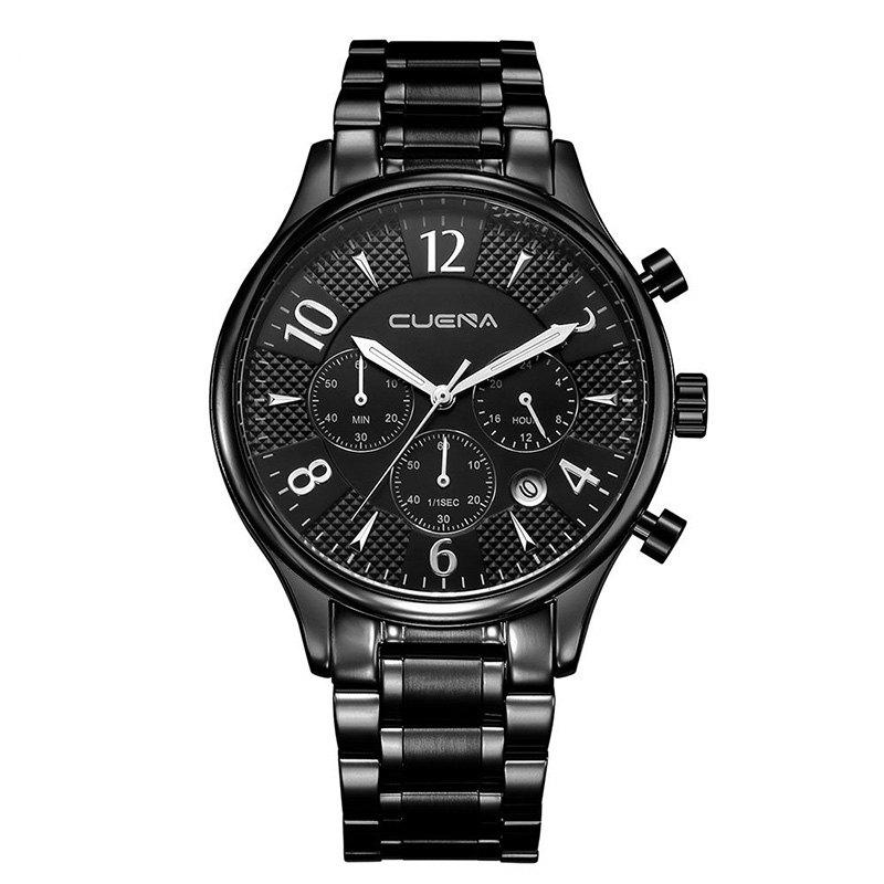 CUENA 6919 Men Steel Band Multifunctional Quartz Waterproof Watch - BLACK SILVER WITH BUILT-IN BATTERY