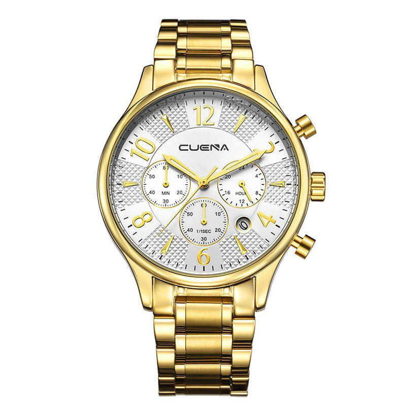 CUENA 6919 Men Steel Band Multifunctional Quartz Waterproof Watch - GOLD WHITE WITH BUILT-IN BATTERY