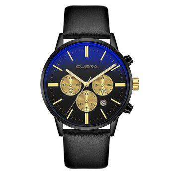 CUENA 6813 Genuine Leather Band Men Multifunction Quartz Watch with Alloy Case - BLACK AND GOLDEN BLACK/GOLDEN