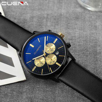 CUENA 6813 Genuine Leather Band Men Multifunction Quartz Watch with Alloy Case - BLACK/GOLDEN