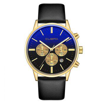 CUENA 6813 Genuine Leather Band Men Multifunction Quartz Watch with Alloy Case - GOLDEN AND BLACK GOLDEN/BLACK
