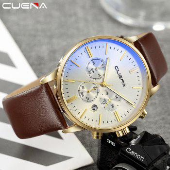 CUENA 6813 Genuine Leather Band Men Multifunction Quartz Watch with Alloy Case -  WHITE/BROWN