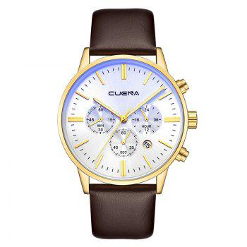 CUENA 6813 Genuine Leather Band Men Multifunction Quartz Watch with Alloy Case - WHITE AND BROWN WHITE/BROWN