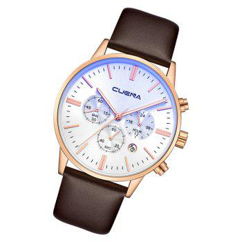 CUENA 6813 Genuine Leather Band Men Multifunction Quartz Watch with Alloy Case -  WHITE/ROSE GOLD