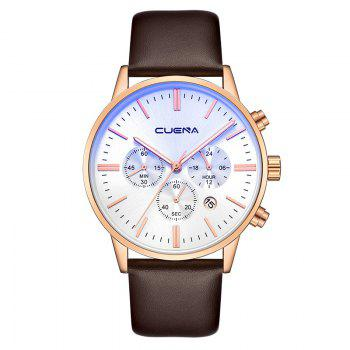 CUENA 6813 Genuine Leather Band Men Multifunction Quartz Watch with Alloy Case - WHITE AND ROSE GOLD WHITE/ROSE GOLD