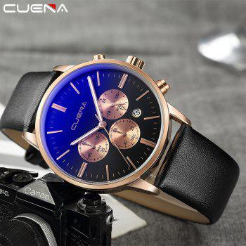 CUENA 6813 Genuine Leather Band Men Multifunction Quartz Watch with Alloy Case -  BLACK/ROSE GOLD
