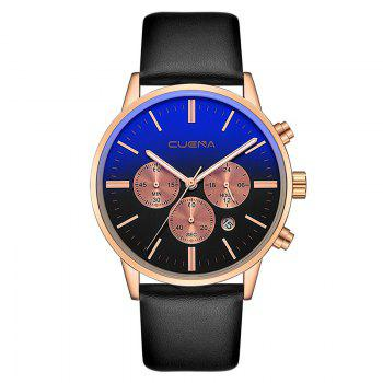 CUENA 6813 Genuine Leather Band Men Multifunction Quartz Watch with Alloy Case - BLACK AND ROSE GOLD BLACK/ROSE GOLD