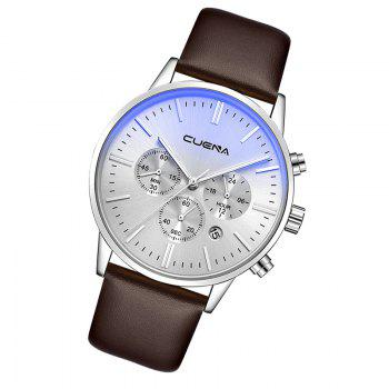 CUENA 6813 Genuine Leather Band Men Multifunction Quartz Watch with Alloy Case -  SILVER/BROWN