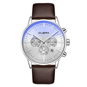 CUENA 6813 Genuine Leather Band Men Multifunction Quartz Watch with Alloy Case - SILVER AND BROWN SILVER/BROWN