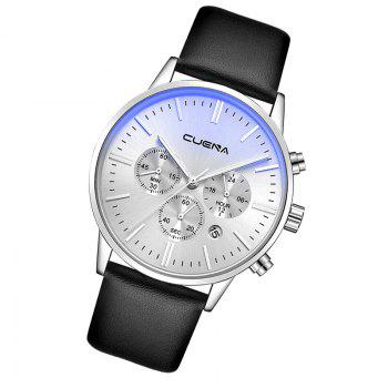 CUENA 6813 Genuine Leather Band Men Multifunction Quartz Watch with Alloy Case -  SILVER/BLACK