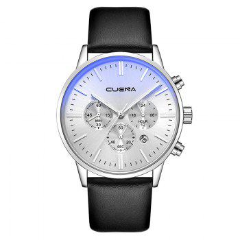CUENA 6813 Genuine Leather Band Men Multifunction Quartz Watch with Alloy Case - SILVER AND BLACK SILVER/BLACK