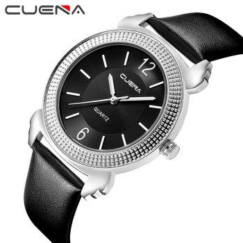 CUENA 6616P Genuine Leather Band Women Quartz Watch - SILVER BLACK